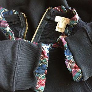 J crew black sweatshirt plaid ruffle trim S